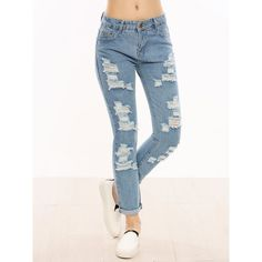 SheIn(sheinside) Distressed Cuffed Jeans ($14) ❤ liked on Polyvore featuring jeans, blue, white destroyed jeans, long skinny jeans, blue jeans, distressed jeans and ripped skinny jeans