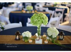 Lovely combo of navy, lime, white and burlap