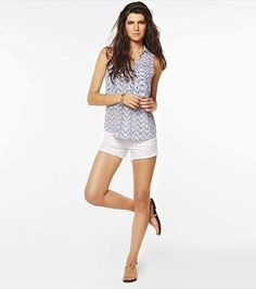 Short sexy, this outfit is the perfect warm weather go-to! Consumer Products, Latest Dress, Online Shopping Clothes, Warm Weather, Different Styles, Sleeveless Blouse, Style Me, Denim, Summer Time