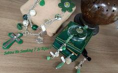 Collana btacciale e orecchino #sabbinadasabina tutto in verde ciondoli catene fatto a mano da me