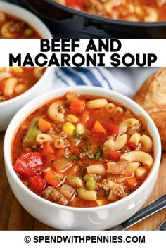 Beef and Macaroni soup is a hearty weeknight meal. Ready in 35 minutes it is made with ground beef mixed veggies a flavorful tomato broth and macaroni! Serve sprinkled with cheese and side of garlic toast. Macaroni Soup Recipes, Beef Macaroni, Beef Soup Recipes, Casserole Recipes, Paleo Recipes, Chicken Recipes, Good Meatloaf Recipe, Best Meatloaf, Meatloaf Recipes