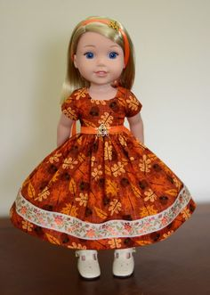 """""""Leaves & Acorns"""" Dress, Outfit, Clothes for American Girl Wellie Wishers #LuminariaDesigns"""
