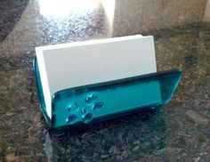Business Card Holder, Aqua, Abstract Floral Accent, Transparent Fused Glass