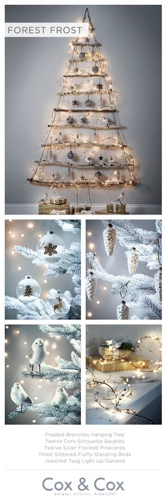 Let nature lead the way with our collection of forest inspired decorations, shown here on our Frosted Branches Hanging Tree.