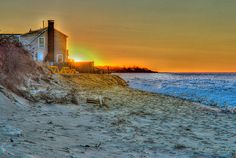Cape Cod Sunset in winter - tonemapped    Friends house on Ellis Landing, Brewster Cape Cod. Ice creeping on shore with the tide