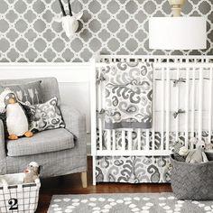 Urban Ikat in Gray Baby Bedding