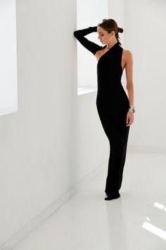 Partido / vestido de Negro / de un hombro vestido por marcellamoda