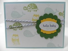 Baby Boy Welcome New Baby Congratulations Hand Stamped Stampin Up Card - Fox & Friends, Baby Bundle and Teeny Tiny Wishes