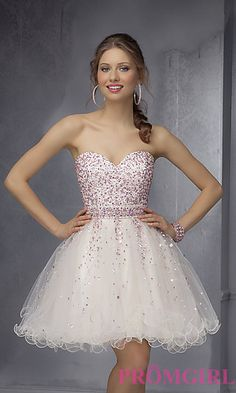 Mori Lee Short Strapless Dress at PromGirl.com