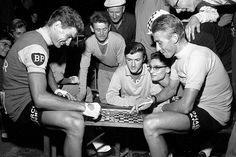 Raymond Poulidor plays draughts with arch-rival Jacques Anquetil in a Paris Match picture that plays up the strategic rivalry between the two  Photograph: Jean-Pierre Biot/REDACTION