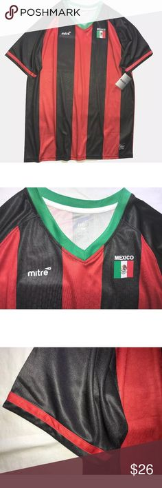 Mitre Men's Mexico Soccer Jersey Mitre Men's Mexico Soccer Jersey SIZE Large New  V-neck Short sleeves Red & black, green trim Size Large 100% Polyester  Thank you so much! Mitre Shirts