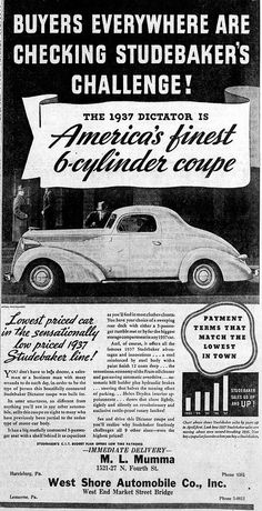 Vintage Newspaper Advertising For The 1937 Studebaker Dictator Automobile In The Harrisburg Pennsylvania Evening News, April 20, 1937.