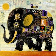 """Tembo Jambo by Robert Terrence (Skip) Hill Skip Hill 24""""x24"""" Acrylics/collage on birch panel Private Collection"""