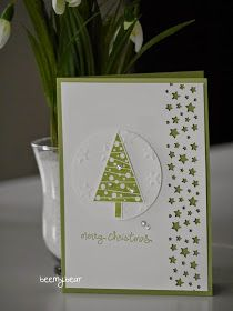 "handmade Christmas card from Stampin with Beemybear ... great use of just two colors ... lots of texture with punched negative space starts border ... embossing folder snowlflakes on circle focal point with stamped and punched out triangle tree ... Stampin"" Up!"