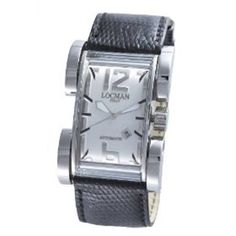 Sleek, nice, stylish and contemporary! This excellent men‰۪s watch is a great one to have on hand and on your wrist! It has Quartz movement, a buckle clasp, a s Men's Watches, Watches For Men, Square Watch, Automatic Watch, Reptiles, Quartz, Black Leather, Band, Silver