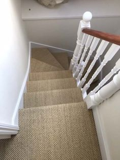 Client: Private Residence In North London flooring Brief: To supply & install beige carpet to stairs (hallway carpet runners) Grey Carpet Hallway, Carpet Staircase, Tartan Stair Carpet, Carpet For Stairs, Striped Carpet Stairs, Sisal Carpet, Seagrass Carpet, Flooring For Stairs, Grey Wood Floors