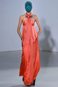 Maison Martin Margiela - love the dress and the colour, but the mask is freaking me out!!