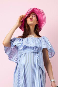 c3083698b5265 Top de grossesse encolure bardot à rayures bleues - Pietro Brunelli Milano  - Taylorbox