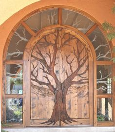 A hand-carved door from Scottsdale Art Factory.