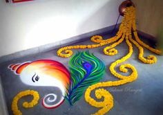 The pot idea Rangoli Designs Peacock, Indian Rangoli Designs, Rangoli Designs Latest, Simple Rangoli Designs Images, Rangoli Border Designs, Colorful Rangoli Designs, Beautiful Rangoli Designs, Rangoli Borders, Rangoli Patterns