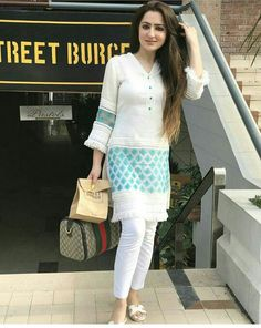 Edgy Fashion and Fashion Dresses Ideas. Simple Pakistani Dresses, Pakistani Fashion Casual, Pakistani Outfits, Indian Outfits, Indian Fashion, Korean Fashion, Casual Summer Dresses, Simple Dresses, Nice Dresses