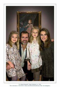 Noblesse & Royautés:  Christmas Card of the Spanish Crown Princely Family 2013-Crown Prince Felipe and Crown Princess Letizia with daughters Infanta Sofia and Infanta Leonor at the Prado Museum