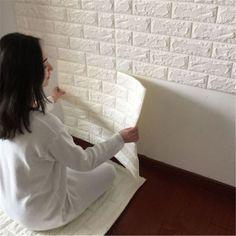 DIY Blanc 3D Briques Mur Autocollant Chambre TV Salon Fond Home Decor Doux Panneaux De Mousse Papier Peint Adesivo De Parede