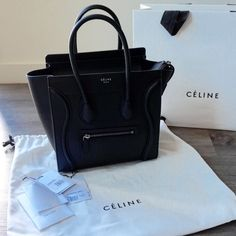 Celine Micro Luggage Tote in Black w/ TAGs + bag Authentic Celine micro luggage tote in black with original tags, dust bag, and shopping bag. Great condition. No scratches. Clean bottom and inside as pictured.  About 1 year old.        % AUTHENTIC  ▪️Price is Firm  ▪️NO TRADE NO PAYPAL  ▪️Comment regarding Trade/ PayPal will not be answered ▪️Please read description above clearly. I make every effort to be as descriptive and honest to my items listed. Celine Bags Totes