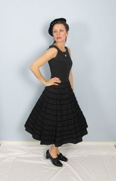 Vintage 1930's Black Crepe Party Dress /// Full by JLVintage, $125.00