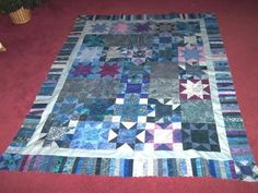 blue fusion quilt top w piano key border by bitspeaces on Etsy, $200.00