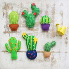 Miniature cactus succulent cacti felt cactus by MiracleInspiration Miniature Terrarium, Terrarium Cactus, Halloween Ornaments, Felt Ornaments, Felt Crafts, Diy And Crafts, Felt Patterns Free, Flamingo Ornament, Cactus Craft