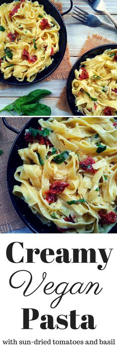 Creamy dairy-free pasta with basic ingredients. Sun-dried tomato and basil infuse this dish with the wonderful flavours of summer. A tasty and satisfying vegan/vegetarian main dish.