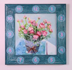 Modern Acryl Paint Handmade Wall Clock Flower Square by LesjaArt