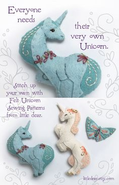 Sew up some sweet, felt unicorns for your little dreamer with these easy plush sewing patterns from little dear! Sewing Toys, Sewing Crafts, Sewing Projects, Craft Projects, Felt Projects, Felt Crafts Patterns, Fabric Crafts, Sewing Patterns, Just In Case