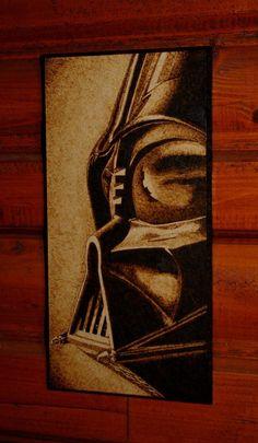 Darth Vader woodburned home decoration