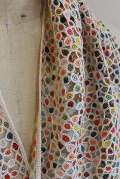 The creatory - detail of the Sophie Digard Merino wool crochet scarf.O ༺✿Teresa Restegui http://www.pinterest.com/teretegui/✿༻