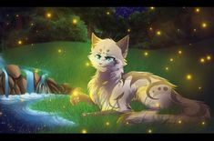 Riverdash- he is a kind but sensitive cat. He has recently lost his mate firefly and often comes to this river to remember her. by RiverSpirit456 on @DeviantArt