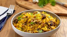 This #vegan Nutty Mushroom and Coriander Pilaf is bursting with earthy flavours - a hearty dish that's perfect as a main, or served as a smaller side portion.