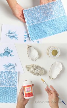 Anthropologie Style DIY Oyster Shell Trinket Dish - DIY, Home Improvement, Interior Design Pins that INSPIRE Us. - Beautiful DIY Anthropologie style oyster shell trinket dish, catch all tray, jewelry dish - Diy Craft Projects, Decor Crafts, Diy Crafts, Oyster Shell Crafts, Oyster Shells, Seashell Crafts, Beach Crafts, Printing On Tissue Paper, Jewelry Dish