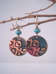 Fuschia and Teal Embossed Copper Earrings