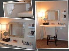 I've been spotting some fantastic DIY vanity mirror recently. Here are 17 ideas of DIY vanity mirror to beautify your room Diy Vanity Mirror With Lights, Vanity Mirrors, Mirror Ideas, Vanity Ideas, Lighted Mirror, Diy Mirror, Diy Makeup Vanity, Makeup Geek, Makeup Vanities