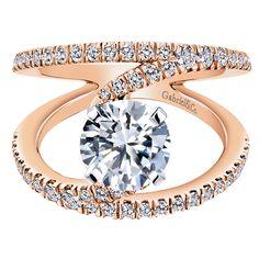 14k White/pink Gold Diamond Split Shank Engagement Ring | Gabriel & Co NY | ER12416R4T44JJ