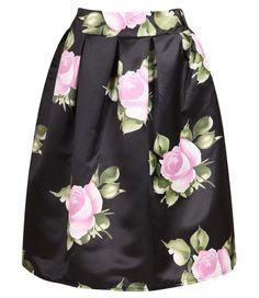 Black Rose Print Flare Skirt 10.83