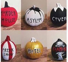 A pumpkin🎃 for every season of American Horror Story😍 Baguio, Evan Peters, Spooky Pumpkin, Pumpkin Carving, Pumpkin Pics, Pumpkin Ideas, Ahs Hotel, American Horror Story Seasons, Holiday Fun