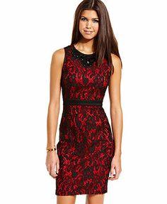 XOXO Dress, Sleeveless Lace Rhinestone