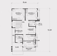 Home Design Plan with 4 Bedrooms. - Home Ideassearch Town House Plans, House Layout Plans, House Layouts, Small House Plans, Simple House Design, House Front Design, Modern House Design, Home Design Plans, Plan Design