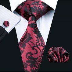Men's Silk Coordinated Tie Set - Burgundy Black Paisley – Uylee's Boutique