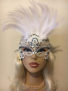 Women Brocade Lace Feather Venetian Masquerade Mask M7634 White