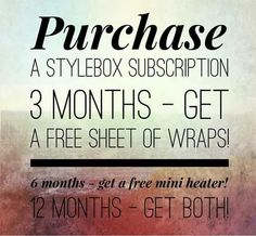 Each month you will receive a minimum of $30 in Jamberry nail products including a catalog item, an exclusive wrap, nail file, orange stick, and a style guide! The Stylebox is only $25 a month plus FREE shipping! Order today! I am giving away a full sheet of wraps to the first 3 month subscription, a mini heater to the first 6 month subscription, and both to the first 12 month subscription!! To order, tap the picture! Then comment below so we can see who's first!! #jamberry #styleboxjn…