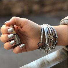 Mavala Nail Polish 28 Austin & Frosted Silver Strappz as Bracelet with Luchador Snappz Brappz Mavala Nail Polish, Bra Straps, Hair Ties, Athleisure, Frost, Chokers, Nails, Metal, Bracelets